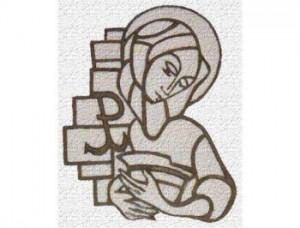 Sgraffito Matki Bożej nad wejściem do zakrystii